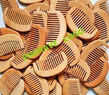 100pcs/lot Peach Wood Wide Tooth Beard Care Combs Wooden Comb Custom LOGO