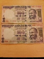 India (qty 2) 100 Rupees 2015 old Paper Currency Banknote circulated