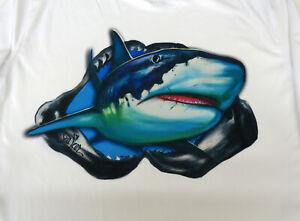 Sea Fear Uomo 50 + Upf Manica Lunga Rash Guard Immersioni Snorkeling Shark