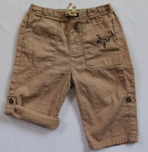 Janie and Jack Baby Boys Size 3-6 Months Monkey Pants Tan Beige Roll-up Pants