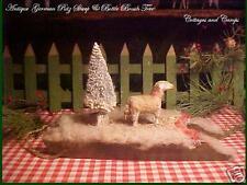 Antique Xmas German Woolly Stick Leg Putz Sheep & Bottlebrush Tree on Wood Sled