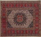 Vintage Ivory Geometric Traditional Area Rug Hand-Knotted Oriental Carpet 6x7
