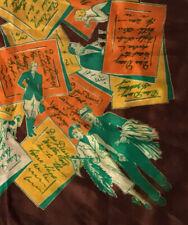 """Vintage Silk Scarf 1930 """"Dear Diary"""" Society Girl Activities& Sports Art Deco"""