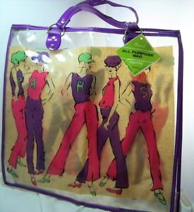 1962 Paris Go Go Girls Clear Plastic Tote Bag New Old Stock with Tags- Groovy