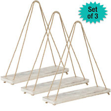 "Rustic Distressed Wood Hanging Shelves: 17"" Swing Rope Shelves (Brown - 3-Pack)"