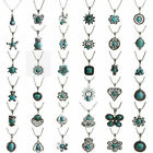 Vintage Tibetan Silver Turquoise Bib Crystal Pendant Long Necklace Fashion Women