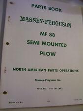 VINTAGE MASSEY FERGUSON  PARTS MANUAL - MF  # 88 SEMI MOUNTED PLOW - 1967