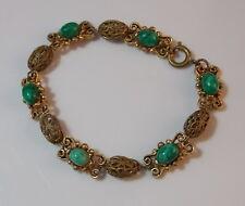 """Vintage Gold tone Filigree Bead Jade Green Marbled Glass 7.5"""" Bracelet 2d 61"""