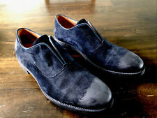 John Varvatos Blue Suede Slip on Oxfords- Hand Made In Italy- Retail $398