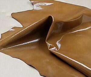Brown Lizard Embossed Patent Goat Skin Leather Hide Crafts Handbag Earrings