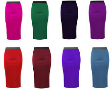 Womens Ladies Plain Bodycon Pencil High Waisted Stretch Midi Office Skirt 8-26