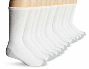Hanes Men's 12-Pack FreshIQ Odor Protection Crew Socks, White,, White, Size 12.0