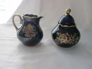 Vintage Cobalt Blue & Gold Roses Porcelain Cream & Sugar Set