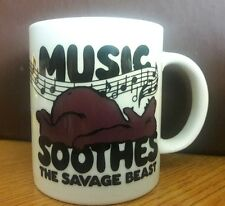 Music Soothes the Savage Beast Mug-Rock Musical Notes Monster VTG Coffee/tea Cup