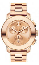 Movado Swiss Bold Ladies Rose Gold Tone Stainless Steel Chrono Watch 3600077