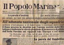 GIORNALE IL POPOLO MARINARO N° 10/1939 DISCORSO DEL DUCE ADUNATA SQUADRISTI
