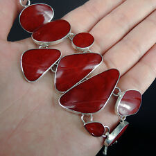 Beautiful RED CORAL & Solid 925 Sterling Silver Bracelet Jewelry, Quality