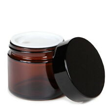 50g Round Amber Glass Jar Straight Sided Cream Jars black plastic lid cap 1PCS