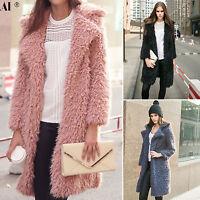 Damen Shaggy Winter Langarm Parka Faux Pelz Jacken Fuzzy-Mantel Duster Coat S-XL