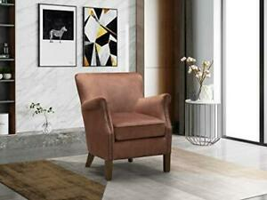 Henley Vintage Velvet Fabric Copper Fireside Lounge Armchair - Bedroom Livingroo