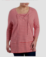 Thomas & Olivia TO women's red/white lace top striped tunic top 3/4 ls 1X 2X $79