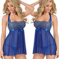 HOT Lingerie Women Sexy Underwear Babydoll Sleepwear Lace Bra Dress G-string Set