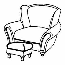 SCALE STRUCTURES LTD HO SCALE PROVINCIAL CHAIR AND OTTOMAN (2) | BN | 5133