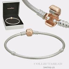 "Authentic Pandora Silver w/ PANDORA Rose Clasp w/ BOX 7.9"" Bracelet 580702-20"