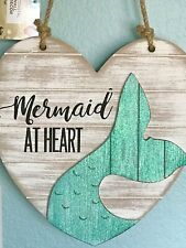 "Home Decor Sign ""Mermaid At Heart"" Wooden Wall Hanging Farmhouse Distressed Chic"