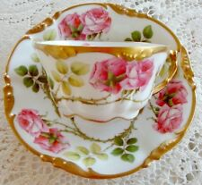 ~POUYAT~LIMOGES~LOVELY~WINDING~ROSES~THICK~GOLD~TEA CUP & PLATE~SET! 6 AVAILABLE