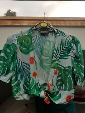 Zara tropical print tie crop top, size M