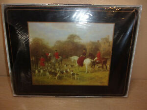 NEW OLD STOCK SET OF 6 PIMPERNEL CORK BACK TALLY HO HUNTING PLACEMATS