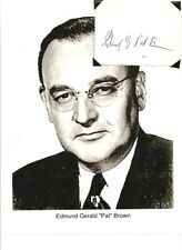 Pat Brown Autograph 32nd Governor of California Attorney Gen Jerry Brown Father