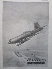9/1945 PUB BLACKBURN AIRCRAFT FIREBRAND STRIKE AIRCRAFT CARRIER PORTE-AVIONS AD