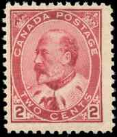Canada #90 mint F-VF OG NH 1903 King Edward VII 2c darker carmine CV$197.50