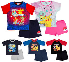 Boys Girls Pokemon Short Pyjamas Short Sleeve Shortie PJs Set Pikachu Kids Size