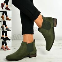 New Womens Ladies Chelsea Ankle Boots Low Heels Shoes Size Uk 3-8