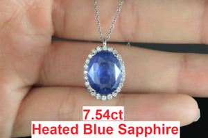 $11,500 14K White Gold GIA Oval Blue Sapphire Diamond Halo Pendant Necklace