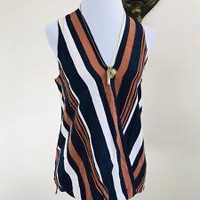Topshop Draped Wrap Blouse Sz 6 Stripes Navy Blue Brown V Neck Top