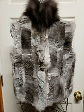 Adrienne Landau Fox and Rabbit Fur Vest Gray Natural NEW WITH TAGS Medium