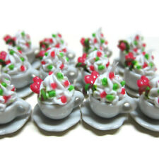 12 Cups of Cappuccino with Candy Cane Dollhouse Miniatures Food Christmas Bakery