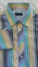 TED BAKER Mens Long Sleeve Dress Shirt Size 16 French Cuff Striped 100% Cotton