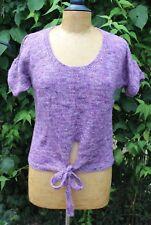 New - ROWAN Linen Silk & Cashmere? Mix Purple Tweed Knitted Top - UK 14
