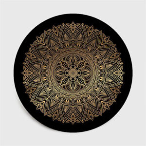 Black and gold flower round carpet lotus chair floor cushion soft living room