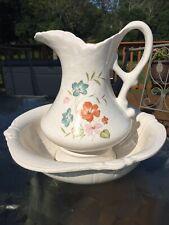 Vintage Pitcher and Basin Bowl Set Treasure Craft USA Farm House Shabby Chic