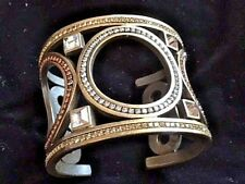 ANTIQUE GOLD FINISH CRYSTAL JEWELED OPEN CUFF BANGLE BRACELET ONE OF A KIND