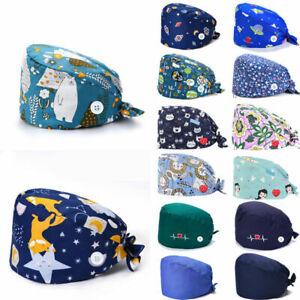 Surgical Scrub Cap Doctor Nurse Bouffant Hat Adjustable Button Cotton Head Cover