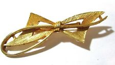 Mid Century Textured Gold Tone Abstract Fancy Bow Shape Pin Vintage