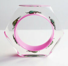 Fun unique magenta lucite bracelet with real bugs by Kolos Designs