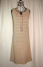Vintage Tannel Knits Mod Hippie Sheath Dress Brown Tan Cream Stripes Size S